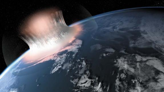 An artist's illustration expression of how a large meteorite impact in the sea might have looked in the first second of the impact. Scientists are unsure if the oldest meteorite crater on Earth, a 3 billion-year-old crater in West Greenland, w