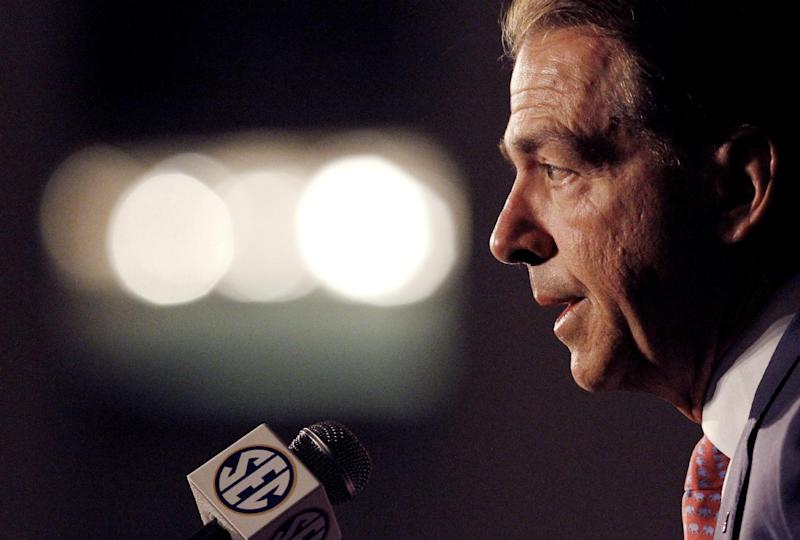 Alabama coach Nick Saban speaks to the media at the Southeastern Conference NCAA college football media days Thursday, July 17, 2014, in Hoover, Ala