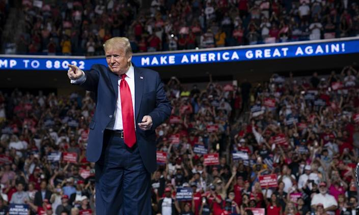"""<span class=""""element-image__caption"""">Trump at the rally in Tulsa last week, which drew condemnation from public health experts.</span> <span class=""""element-image__credit"""">Photograph: Evan Vucci/AP</span>"""