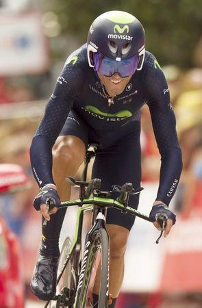 FILE PHOTO - MovistarTeam rider Alejandro Valverde of Spain competes during the 17th stage individual time trial of the Vuelta Tour of Spain cycling race in Burgos, Spain, September 9, 2015.