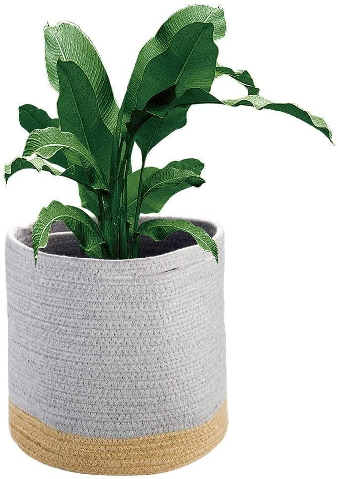 <p>Instead of a hard planter, try this cool <span>Plant Basket Woven Cotton Rope Basket Cover Up</span> ($9).</p>