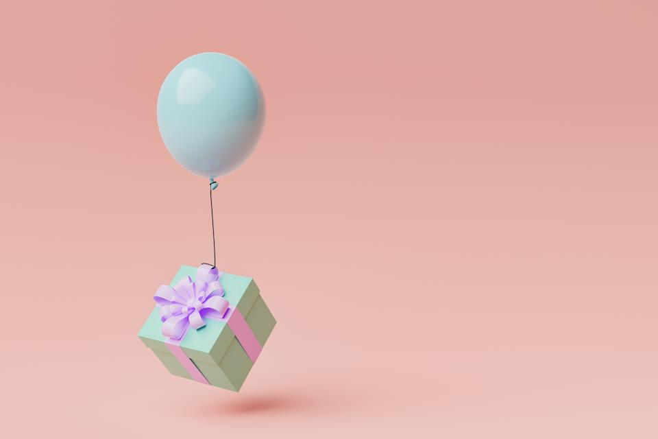 gift box with a balloon floating in the air and space for text. concept for celebrations, birthdays and holidays. 3d render
