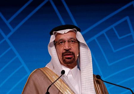 Saudi Energy Minister Khalid al-Falih addresses the gathering during India Energy Forum in New Delhi