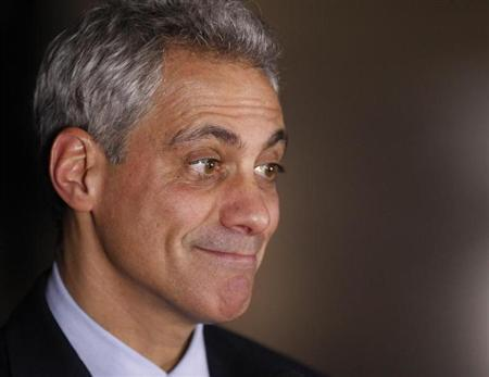 Chicago Mayor Emanuel smiles while attending U.S. President Obama's election night rally in Chicago