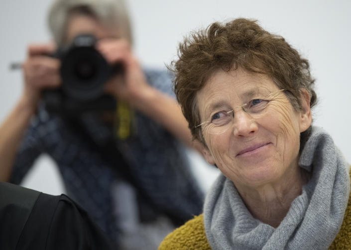Gynaecologist Kristina Haenel sits in the courtroom of the state court in Giessen, Germany, Thursday, Dec. 12, 2019. Gynaecologist Kristina Haenel has been convicted again of violating a ban on advertising abortions. (Boris Roessler/dpa via AP)