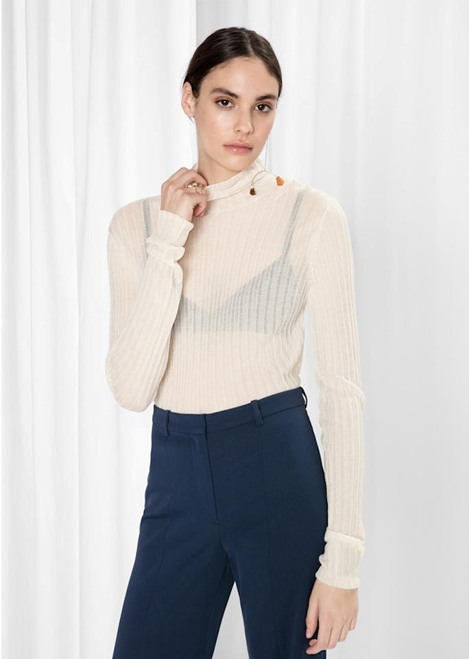 """& Other Stories Silk Turtleneck, $55; at <a rel=""""nofollow"""" href=""""http://www.stories.com/us/Ready-to-wear/Knitwear/Silk_Turtleneck/582940-105144324.1"""" rel="""""""">& Other Stories</a>"""
