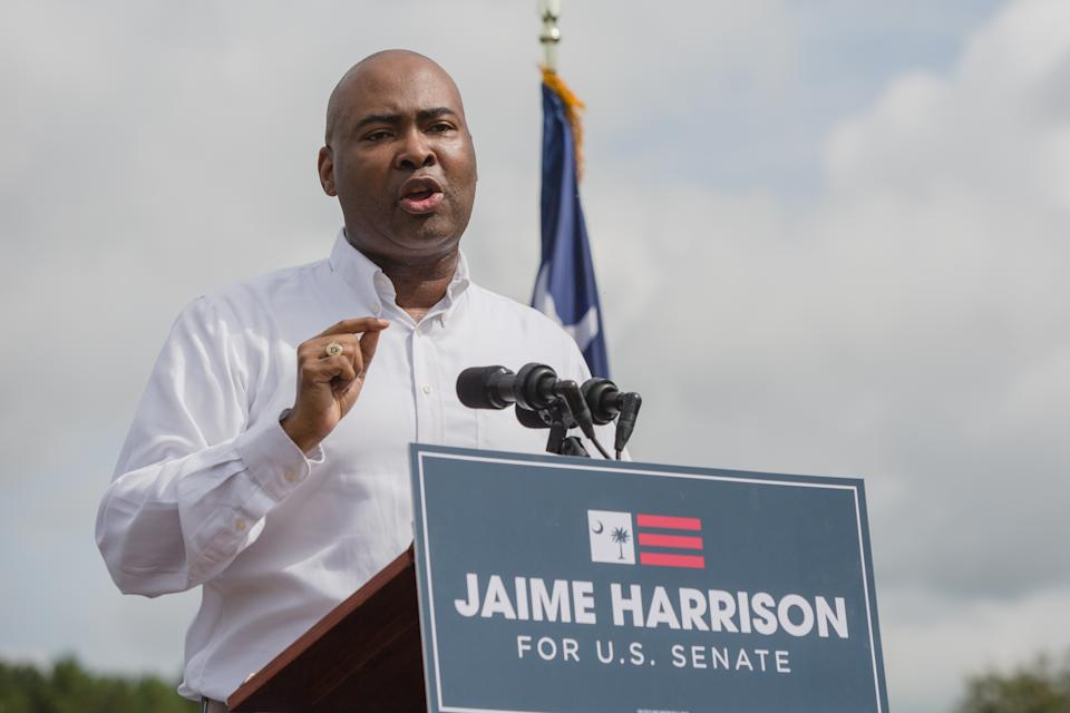 Jaime Harrison, a Democratic U.S. Senate candidate, speaks during a 'Rural Hope Agenda' event in Rowesville, South Carolina, U.S. (Photographer: Micah Green/Bloomberg)