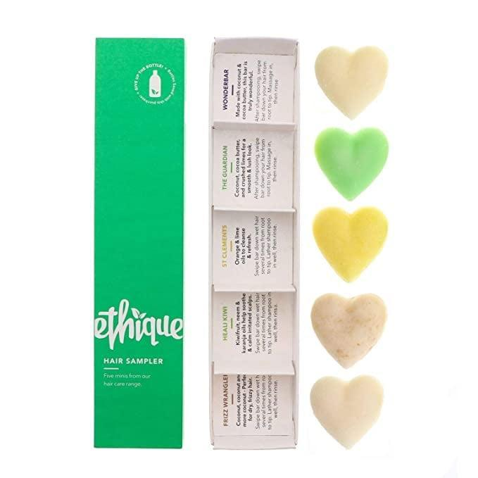 <p>Embrace the eco-friendly lifestyle with the <span>Ethique Eco-Friendly Hair Sampler Set</span> ($16), which comes with 3 Shampoos + 2 Conditioners.</p>