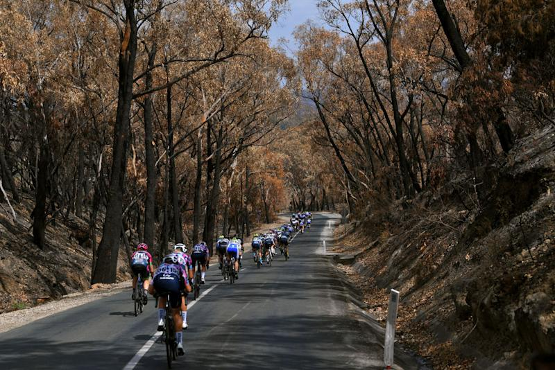 Stage 3 of the Women's Tour Down Under passed through an area hit by recent bush fires