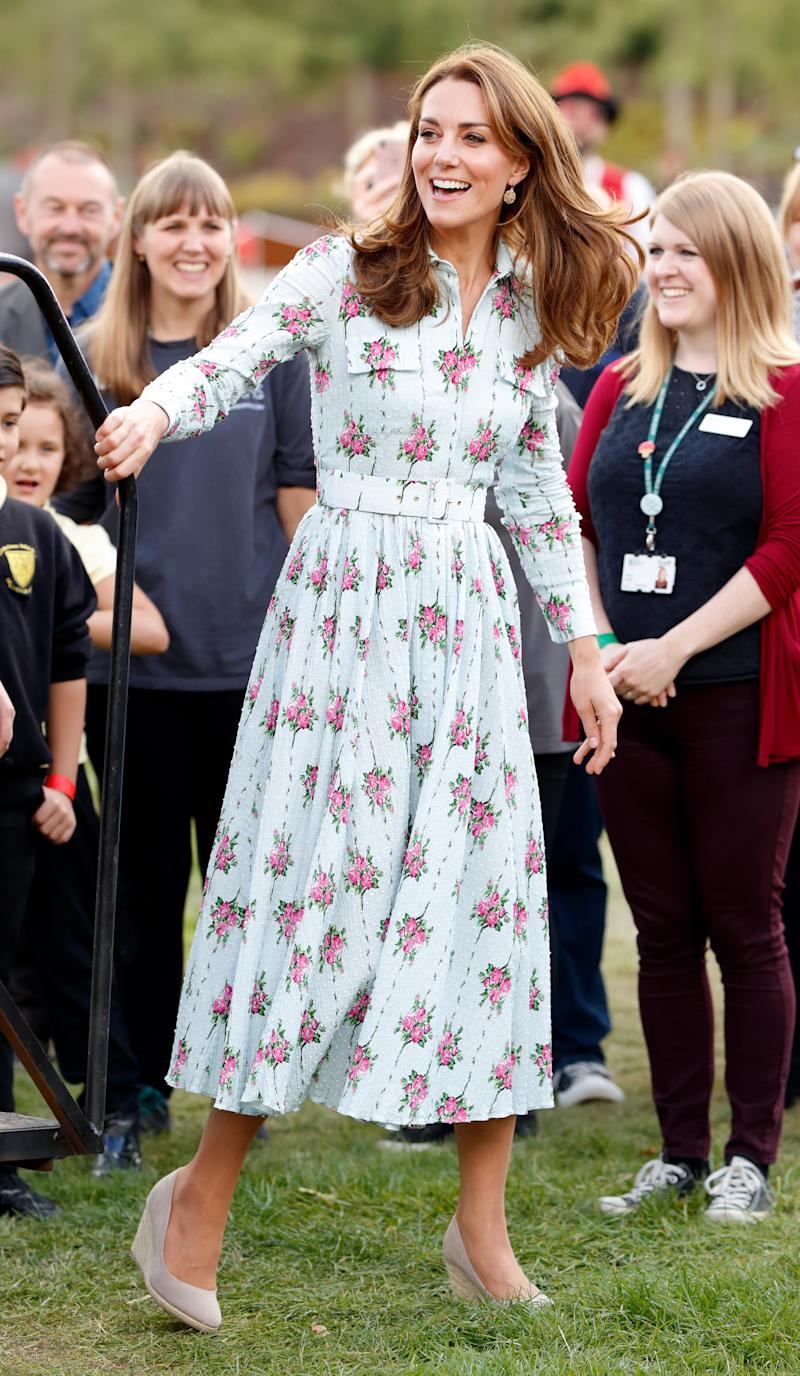 "WOKING, UNITED KINGDOM - SEPTEMBER 10: (EMBARGOED FOR PUBLICATION IN UK NEWSPAPERS UNTIL 24 HOURS AFTER CREATE DATE AND TIME) Catherine, Duchess of Cambridge attends the ""Back to Nature"" festival at RHS Garden Wisley on September 10, 2019 in Woking, England. (Photo by Max Mumby/Indigo/Getty Images)"