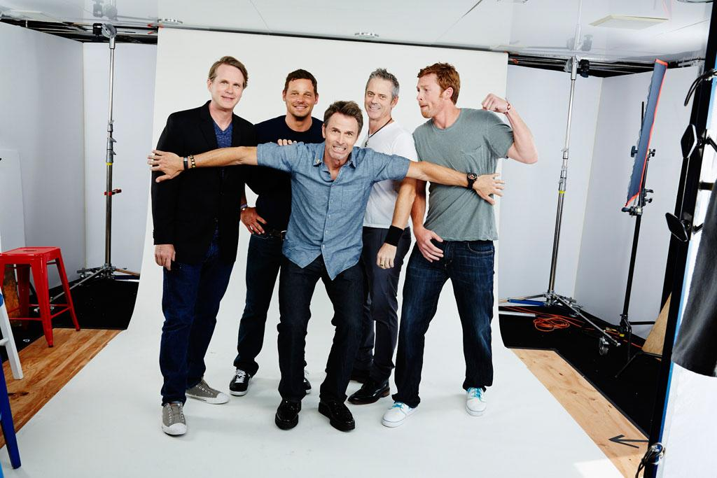 """Cary Elwes, Justin Chambers, James Patrick Stuart, C. Thomas Howell, and Sam Daly of """"Justice League: The Flashpoint Paradox"""" posing for TV Guide at the 2013 Comic-Con International Convention."""