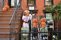 <p>New York never disappoints. This pumpkin set-up in Brooklyn neighborhood Boerum Hill is incredible and could be mimicked with a few key items, like pumpkins, colored wire, and a few shelves. </p>