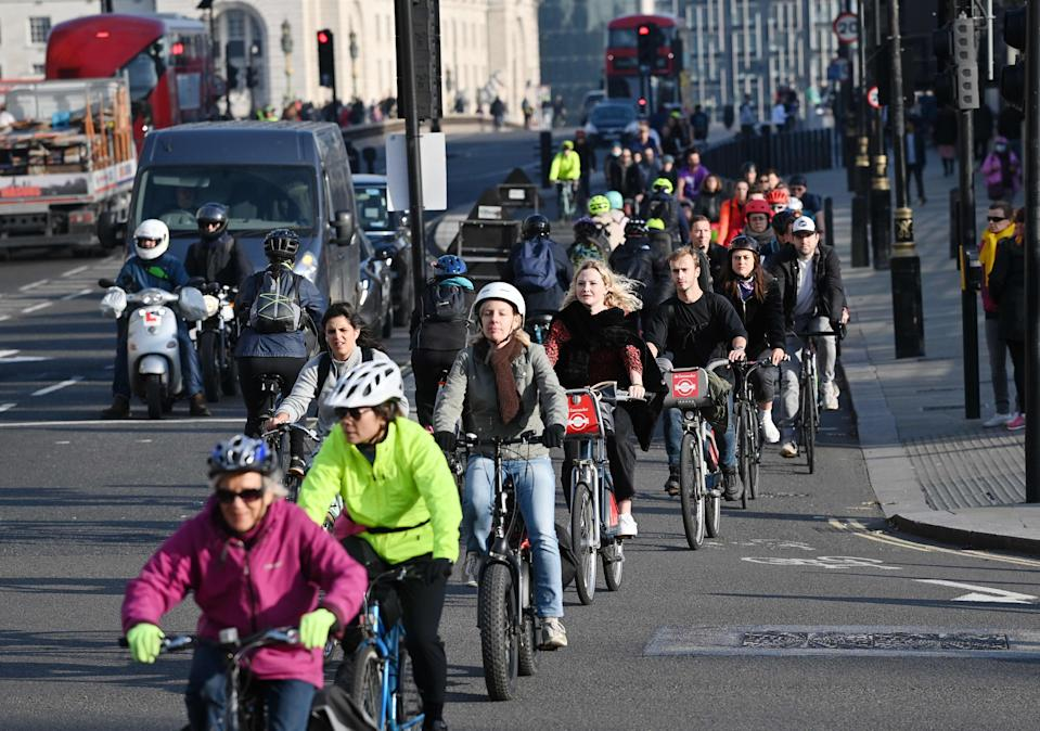On your bikes, get set, go: the cycle lane across Westminster bridge (AFP via Getty Images)