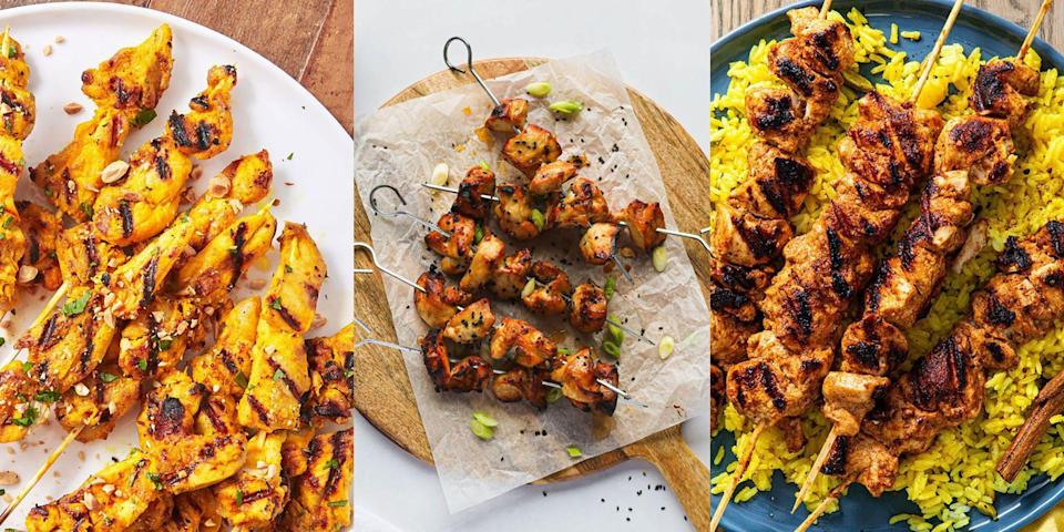 """<p><a href=""""https://www.delish.com/uk/cooking/recipes/g32399252/bbq-chicken-recipe/"""" rel=""""nofollow noopener"""" target=""""_blank"""" data-ylk=""""slk:Chicken"""" class=""""link rapid-noclick-resp"""">Chicken</a> skewers are a must-make in summer, especially when it comes to <a href=""""https://www.delish.com/uk/cooking/recipes/g32388577/bbq-recipes/"""" rel=""""nofollow noopener"""" target=""""_blank"""" data-ylk=""""slk:BBQs"""" class=""""link rapid-noclick-resp"""">BBQs</a>. Not to mention, there's so many ways you can marinade them! We're talking <a href=""""https://www.delish.com/uk/cooking/recipes/a36446241/chicken-teriyaki-skewers/"""" rel=""""nofollow noopener"""" target=""""_blank"""" data-ylk=""""slk:teriyaki"""" class=""""link rapid-noclick-resp"""">teriyaki</a>, <a href=""""https://www.delish.com/uk/cooking/recipes/a30279311/chicken-satay-recipe/"""" rel=""""nofollow noopener"""" target=""""_blank"""" data-ylk=""""slk:satay"""" class=""""link rapid-noclick-resp"""">satay</a> and even tikka. All you need to do is thread your marinated chicken onto some <a href=""""https://www.delish.com/uk/cooking/recipes/g36091853/kebab-recipe/"""" rel=""""nofollow noopener"""" target=""""_blank"""" data-ylk=""""slk:skewers"""" class=""""link rapid-noclick-resp"""">skewers</a>, and you're pretty much good to go. Perfect alongside a <a href=""""https://www.delish.com/uk/cooking/recipes/g32997531/summer-salads/"""" rel=""""nofollow noopener"""" target=""""_blank"""" data-ylk=""""slk:summer salad"""" class=""""link rapid-noclick-resp"""">summer salad</a> and even better paired with a punch of delicious-tasting <a href=""""https://www.delish.com/uk/cooking/recipes/g35979556/bbq-sides/"""" rel=""""nofollow noopener"""" target=""""_blank"""" data-ylk=""""slk:BBQ sides"""" class=""""link rapid-noclick-resp"""">BBQ sides</a>, there's simply nothing as good. For a selection of easy-to-make chicken skewer recipes, keep reading...</p>"""
