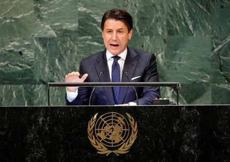 FILE PHOTO: Italian Prime Minister Giuseppe Conte addresses the United Nations General Assembly in New York