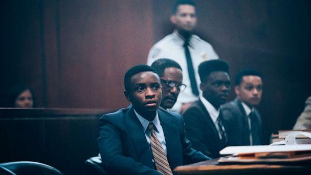 PHOTO: Caleel Harris, as Young Antron McCray, Blair Underwood, as Bobby Burns, Ethan Herisse, as Young Yusef Salaam, and Marquis Rodriguez, as Young Raymond Santana, in a scene from 'When They See Us.' (Atsushi Nishijima/Netflix)