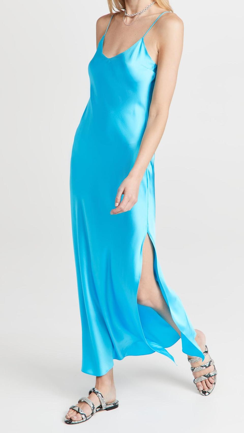<p>This <span>Dannijo Mossy Slip Dress</span> ($295) is a bestseller, and we love the vibrant blue hue.</p>