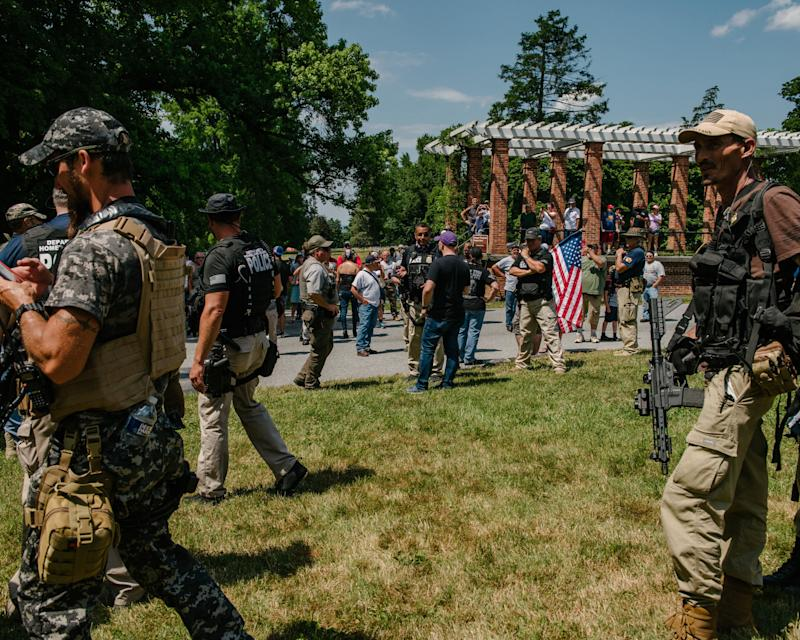 GETTYSBURG, PA - July 4, 2020: An online threat from the supposed leader of Antifa called for the burning of American flags on the grounds of the Gettysburg National Military Park where militias and other white nationalists assembled to protect the historic grounds in Gettysburg, Pennsylvania on July 4, 2020. (Photo by Andrew Mangum for The Washington Post via Getty Images) (Photo: The Washington Post via Getty Images)