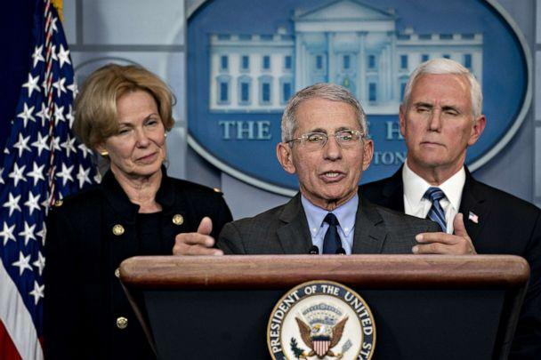 PHOTO: Anthony Fauci, center, speaks as Vice President Mike Pence, right, and Deborah Birx, coronavirus response coordinator, listen during a news conference in the briefing room of the White House in Washington on March 2, 2020. (Bloomberg via Getty Images)