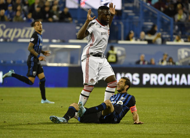 Jozy Altidore (top) and Toronto FC are still in good shape in the Canadian Cup final despite losing the first leg. (USA Today)