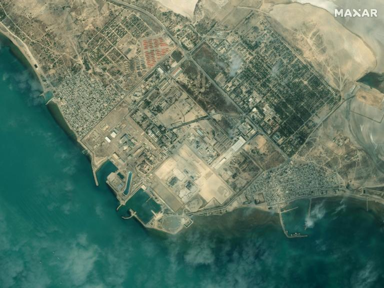 This handout satellite image provided by Maxar Technologies on January 8, 2020 shows an overview of Iran's Bushehr Nuclear Power Plant