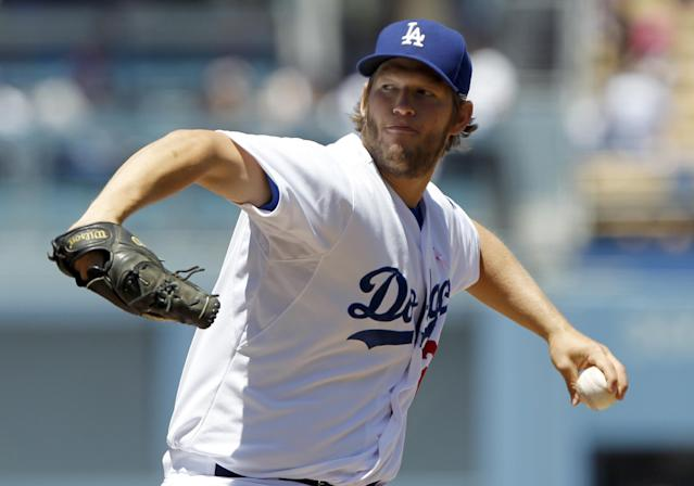 Los Angeles Dodgers starting pitcher Clayton Kershaw throws against the San Francisco Giants in the first inning of a baseball game on Sunday, May 11, 2014, in Los Angeles. (AP Photo/Alex Gallardo)