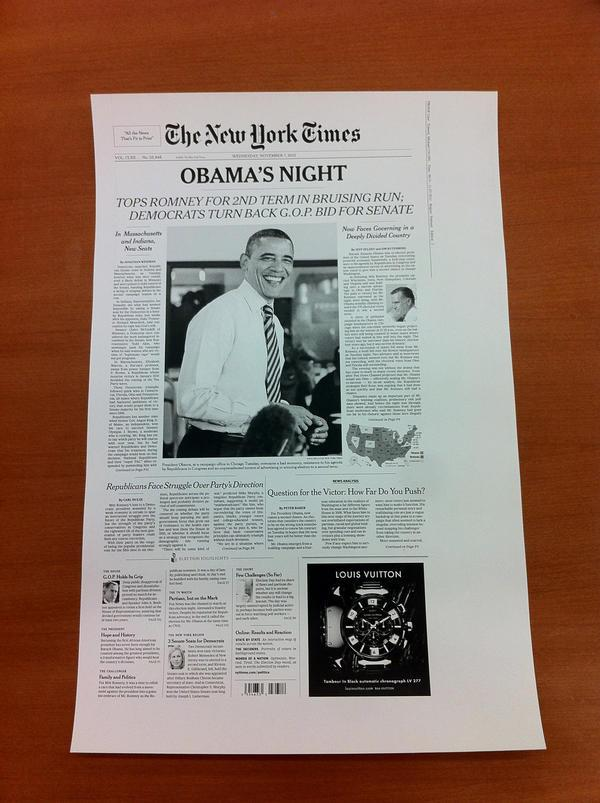 Sneak peek: Page One of The New York Times, Nov. 7, 2012