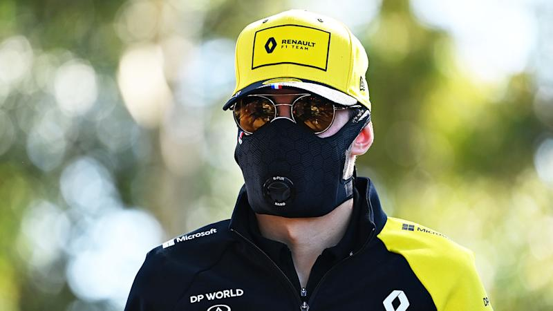 Pictured here, Renault's Esteban Ocon wears a mask amid the COVID-19 crisis.