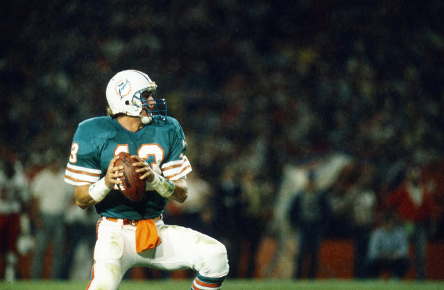 Sometimes, funky colors can work on a jersey. Dan Marino and the Dolphins made it happen. (Photo by Walt Disney Television via Getty Images)