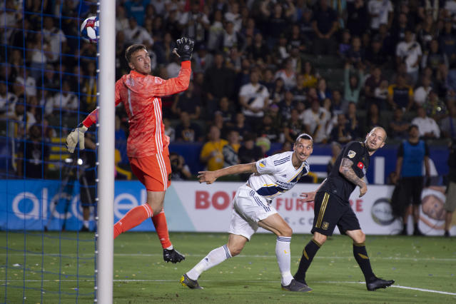 Zlatan Ibrahimovic (center) had LAFC's number yet again in the Galaxy's El Tráfico win. (Reuters)