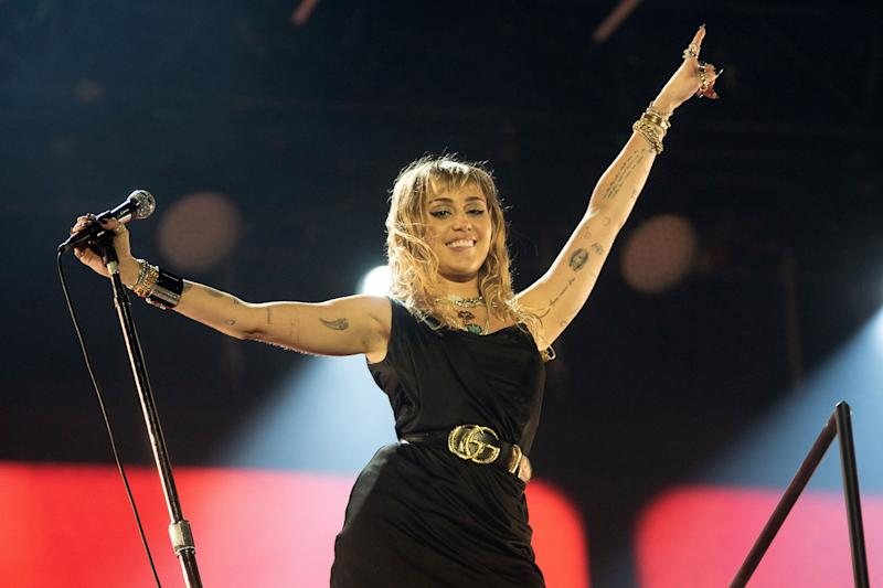 Miley Cyrus performs three new songs during the Radio 1 Big Weekend in Middlesbrough, U.K., on Saturday.