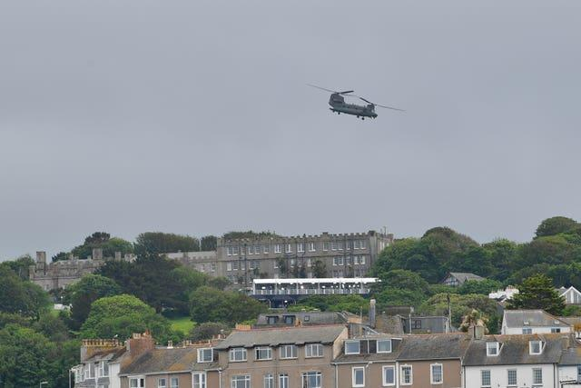 A Chinook helicopter passing over Carbis Bay during the G7 summit in Cornwall