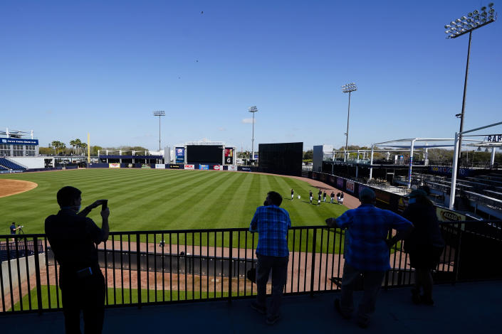 Members of the media watch the New York Yankees during a spring training baseball workout Tuesday, Feb. 23, 2021, in Tampa, Fla. (AP Photo/Frank Franklin II)