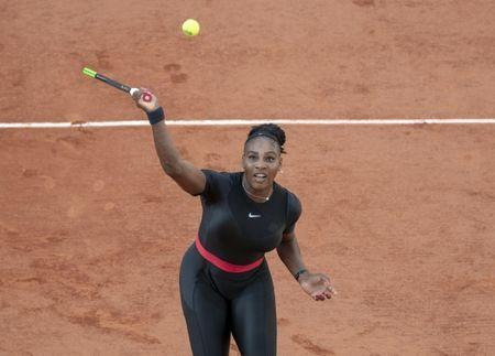 Jun 2, 2018, Paris, France: Serena Williams (USA) in action during her match against Julia Goerges (GER) on day seven of the 2018 French Open at Roland Garros. Mandatory Credit: Susan Mullane-USA TODAY Sports
