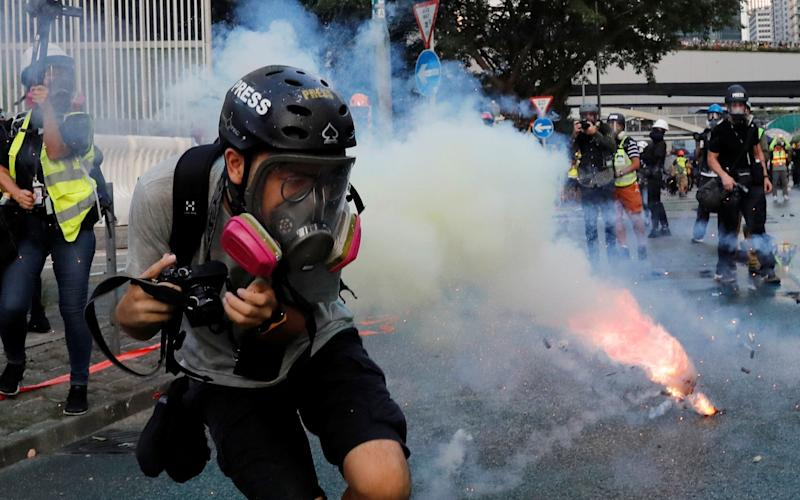 Tear gas was fired during the protests - REUTERS
