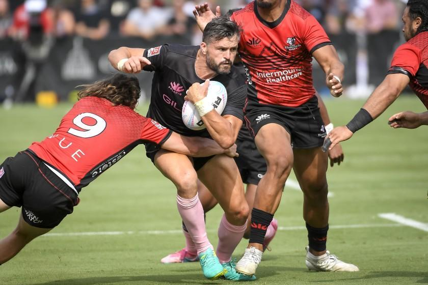 LOS ANGELES, CALIFORNIA - JULY 25: Adam Ashley-Cooper #13 of the LA Giltinis runs the ball against the Utah Warriors in the second half at Los Angeles Coliseum on July 25, 2021 in Los Angeles, California. (Photo by Kevork Djansezian/Getty Images for LA Giltinis)