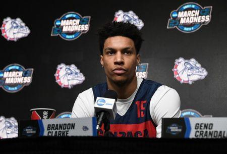 FILE PHOTO: March 27, 2019; Anaheim, CA, USA; Gonzaga Bulldogs forward Brandon Clarke (15) speaks with media during practice for the west regional of the 2019 NCAA Tournament at Honda Center. Mandatory Credit: Richard Mackson-USA TODAY Sports