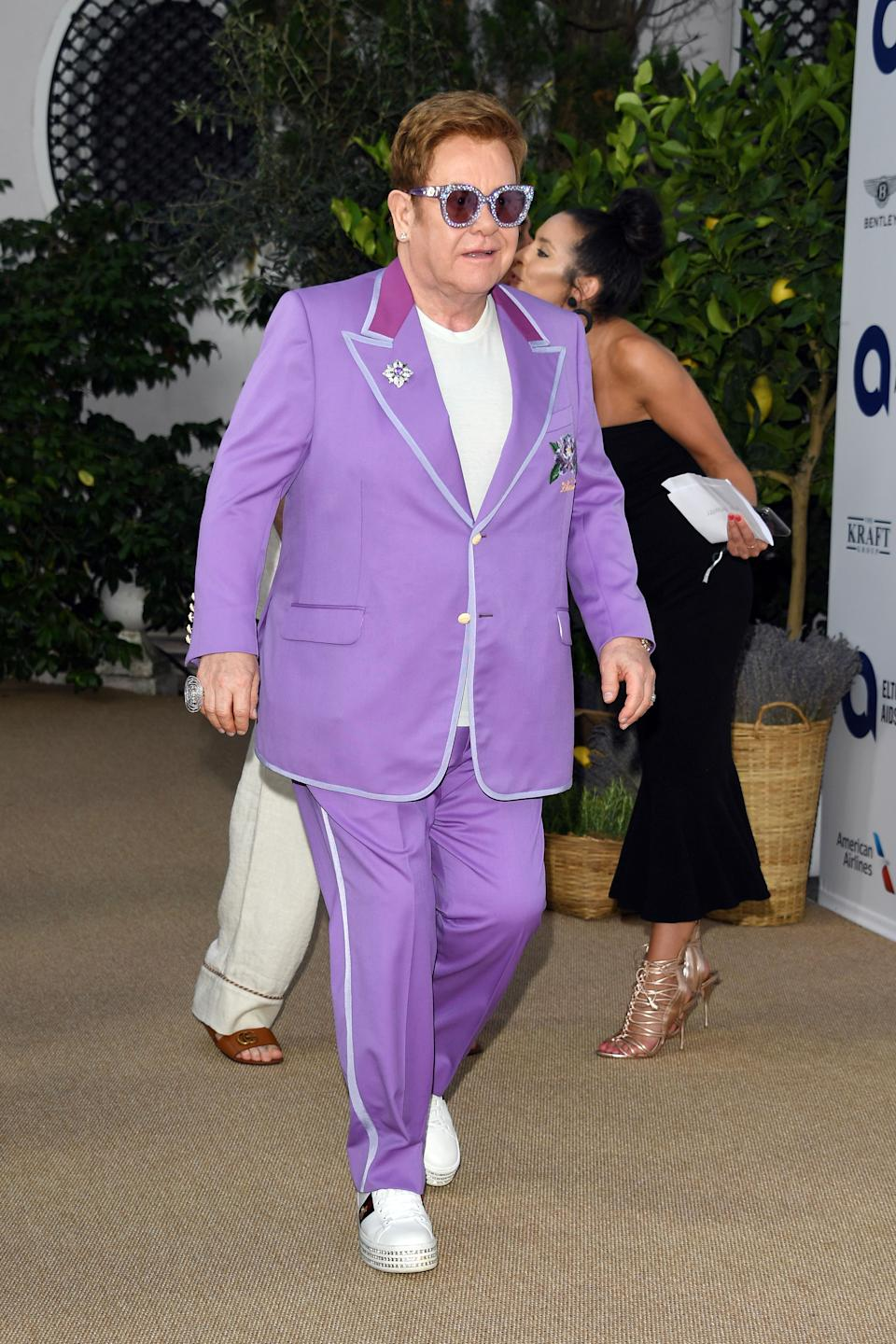 """Sir Elton John attends the first """"Midsummer Party"""" hosted by Elton John and David Furnish to raise funds for the Elton John Aids Foundation on July 24, 2019 in Antibes, France."""