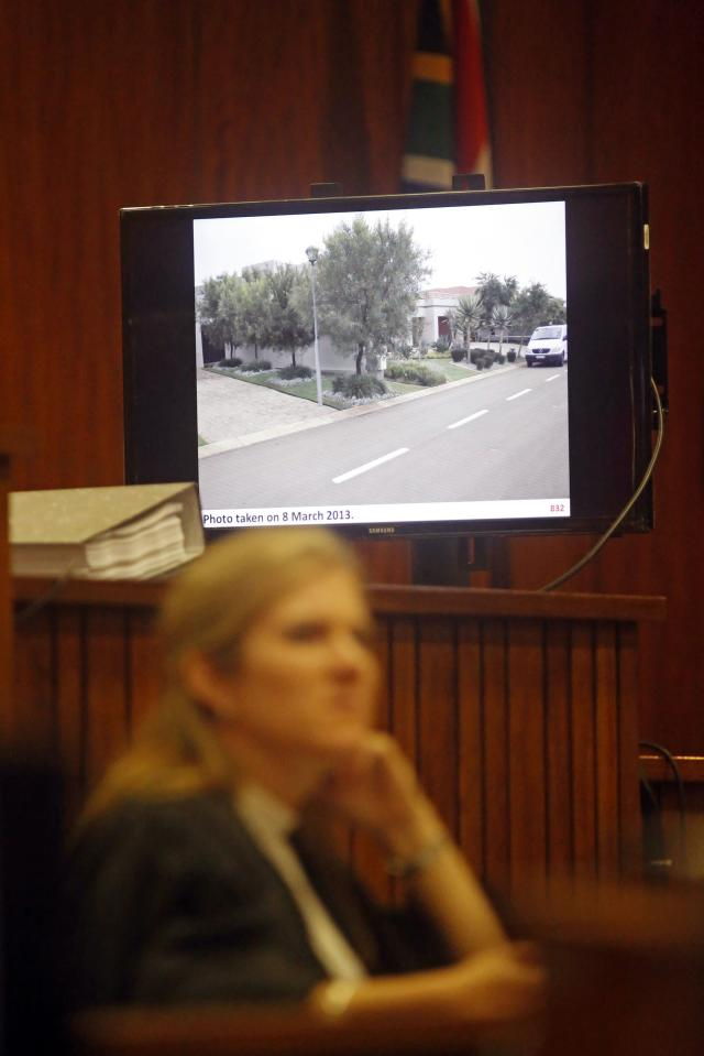A picture of the street in which Olympic and Paralympic track star Oscar Pistorius lives is shown during the fifth day of trial for the murder of his girlfriend Reeva Steenkamp at the North Gauteng High Court in Pretoria, March 7, 2014. REUTERS/Schalk van Zuydam/Pool (SOUTH AFRICA - Tags: SPORT ATHLETICS CRIME LAW)