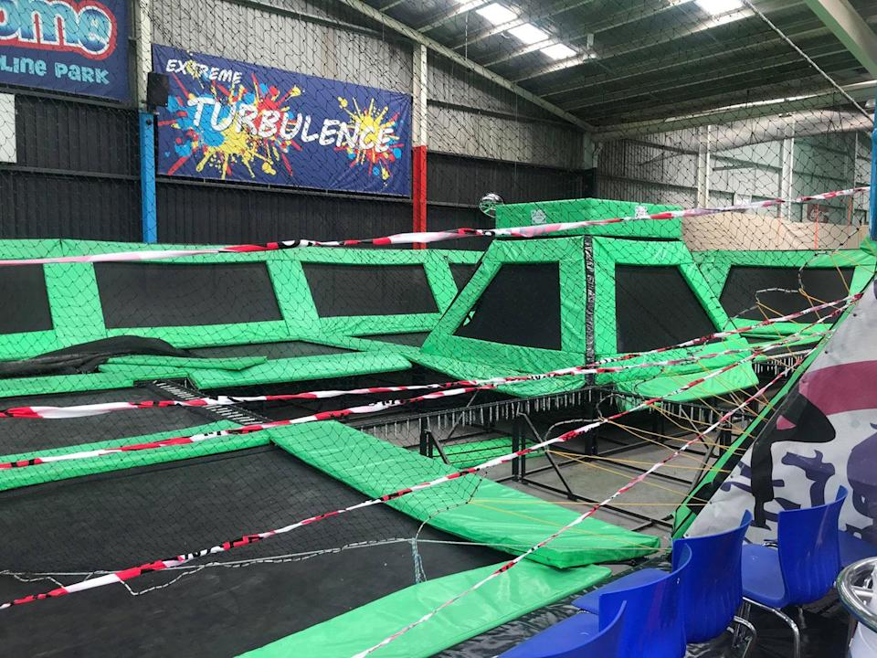 <span>Staff at the Airodrome Trampoline Park in Altona North said up to 17 of their 'Big Green' trampolines have had holes cut. Photo: </span>7 News