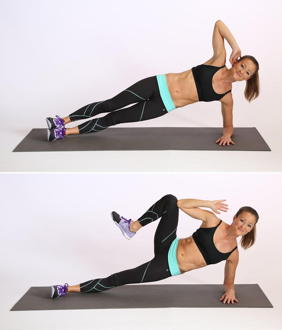 <ul> <li>Begin in a side elbow plank with your left elbow down and your right hand behind your head.</li> <li>Keeping your torso stable and your waist lifted, bring your right leg up toward your shoulder to lightly tap your right elbow.</li> <li>Lengthen your right leg back to the starting position to complete one rep. Be sure to perform a set on both sides.</li> </ul>