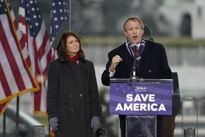 "Texas Attorney General Ken Paxton speaks Wednesday, Jan. 6, 2021, in Washington, at a rally in support of President Donald Trump called the ""Save America Rally."" (AP Photo/Jacquelyn Martin)"