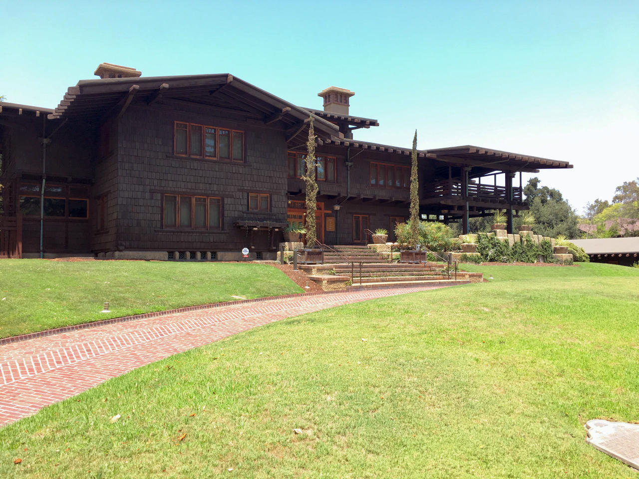 This July 15, 2017 photo shows The Gamble House in Pasadena, Calif., considered an outstanding example of American Arts and Crafts style architecture. The home was designed in 1908 as a winter residence for David Berry Gamble of the Procter & Gamble Co. family. (Maggie Delehanty via AP)