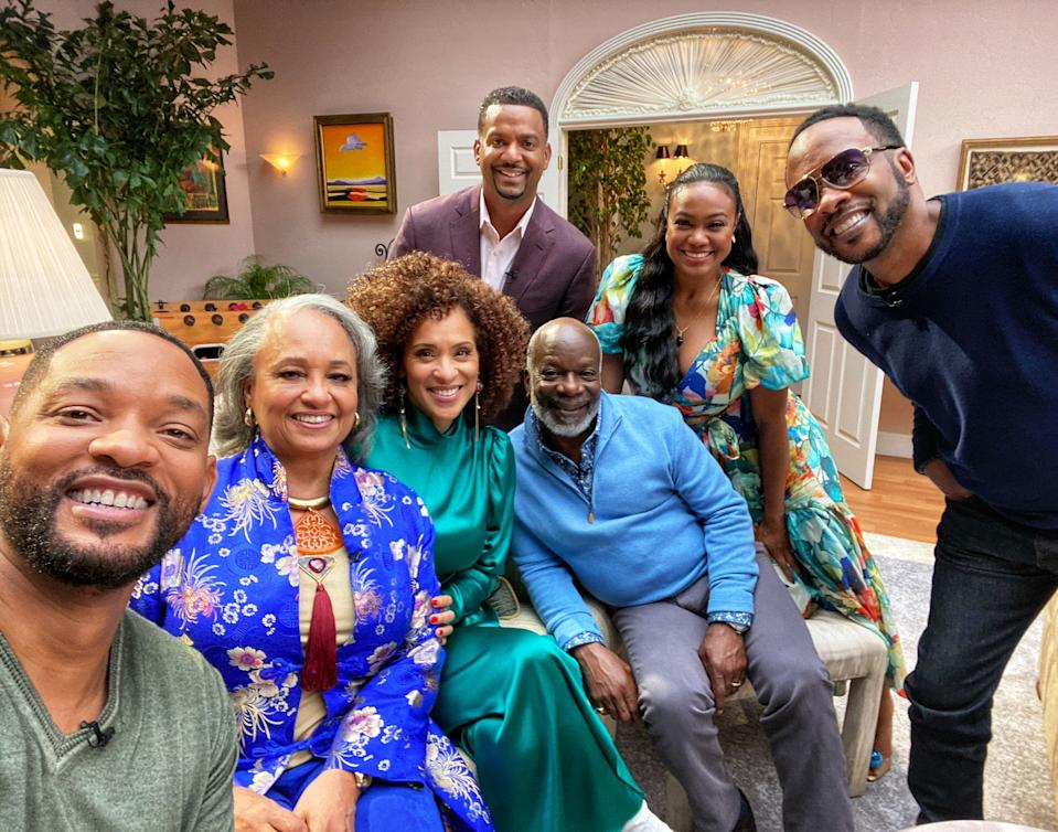 Will Smith reunites with his 'Fresh Prince' cast in 'The Fresh Prince of Bel-Air Reunion' on HBO Max (Photo: WarnerMedia)