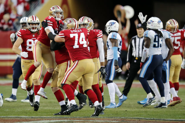 <p>San Francisco 49ers kicker Robbie Gould (9) is lifted by teammates after kicking the game-winning field goal during the fourth quarter of an NFL football game against the Tennessee Titans, Sunday, Dec. 17, 2017, in Santa Clara, Calif. (AP Photo/John Hefti) </p>