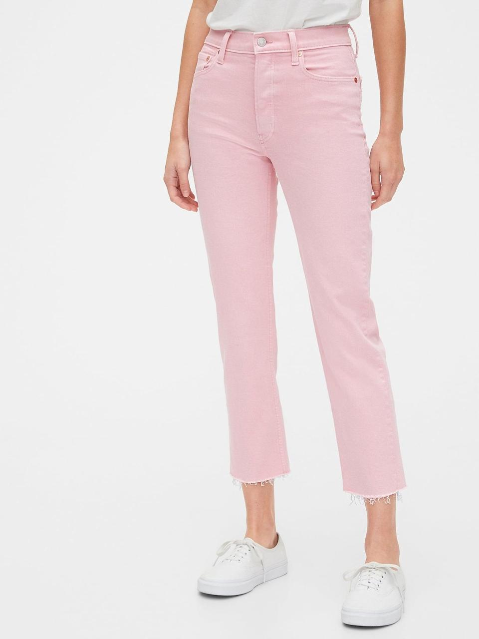 <p>Spending a warm weather Valentine's day? We love these beachy <span>Gap High Rise Cheeky Straight Jeans with Raw Hem</span> ($27, originally $60) paired with white slip ons.</p>