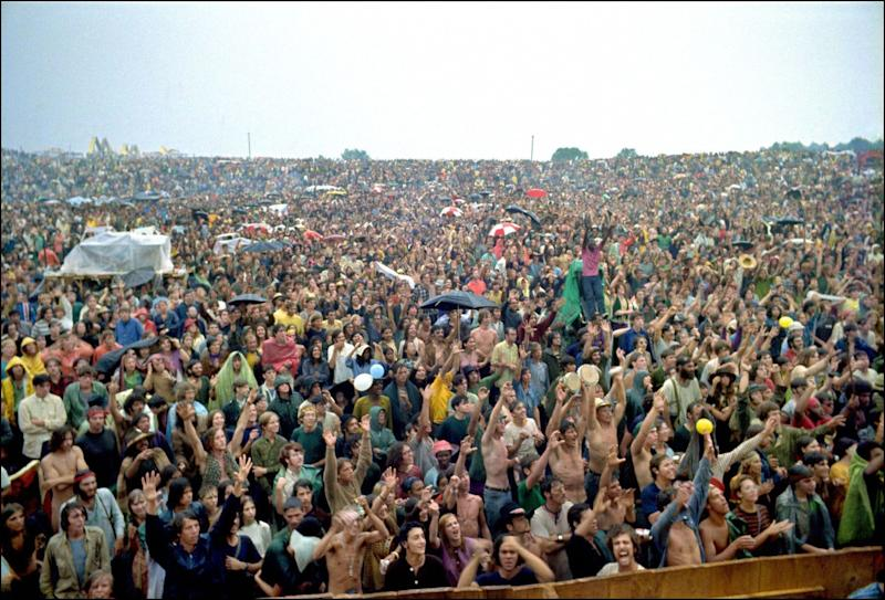 The crowd at the Woodstock festival in Bethel, New York, in August 1969.