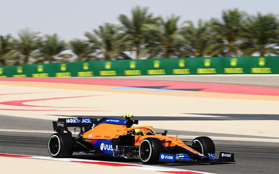 Lando Norris of Great Britain driving the (4) McLaren F1 Team MCL35M Mercedes drives on track practice ahead of the F1 Grand Prix of Bahrain at Bahrain International Circuit on March 26, 2021 in Bahrain, Bahrain - Clive Mason - Formula 1