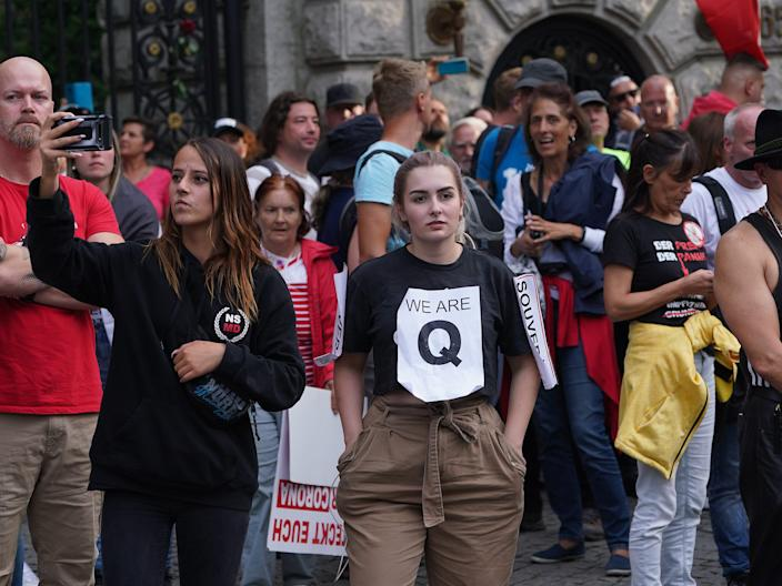 germany anti-lockdown protest qanon