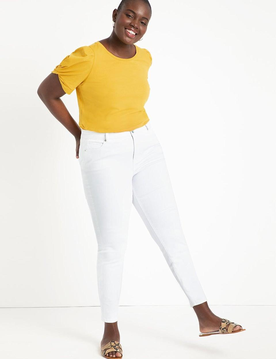 <br> <br> <strong>Eloquii</strong> Classic Fit Peach Lift Jean, $, available at